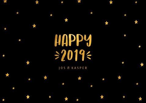 Nieuwjaarskaart sterren 'Happy 2019' goudlook 3