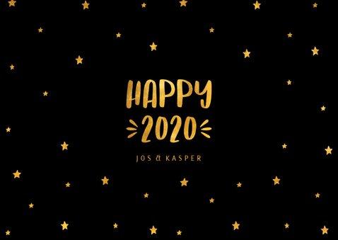 Nieuwjaarskaart sterren 'Happy 2020' goudlook 3