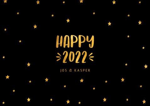 Nieuwjaarskaart sterren 'Happy 2022' goudlook 3