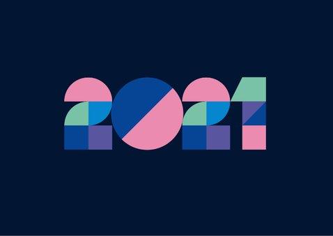 Nieuwjaarskaart - zakelijk - 2021 en geometrisch 2