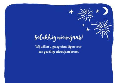 Nieuwjaarskaart zakelijk tekst vuurwerk  2