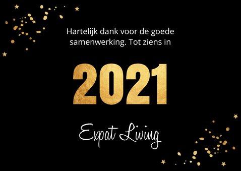 Nieuwjaarskaart zwart goudlook confetti 2021 3