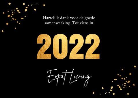 Nieuwjaarskaart zwart goudlook confetti 2022 3