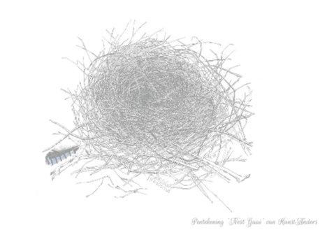 Pentekening 'Nest Vlaamse gaai' 2