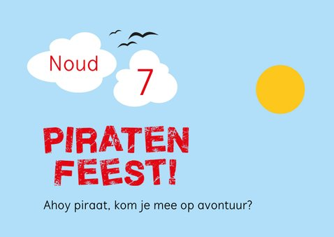 Piratenfeest uitnodiging piratenschip 2