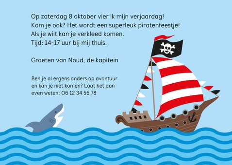 Piratenfeest uitnodiging piratenschip 3
