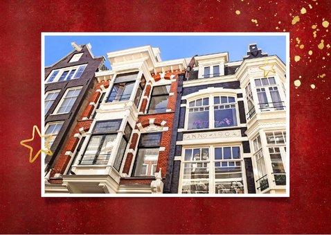 Rode kerst verhuiskaart met goudlook tekst verhuisd  2