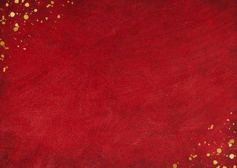 Rode kerst verhuiskaart met goudlook tekst verhuisd  Achterkant