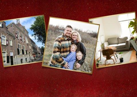 Rode kerst verhuiskaart met verfroller en eigen foto 2