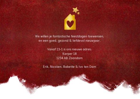 Rode kerst verhuiskaart met verfroller en eigen foto 3