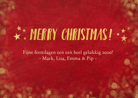 Rode kerstkaart met foto, gouden sterren, tekst en confetti 3