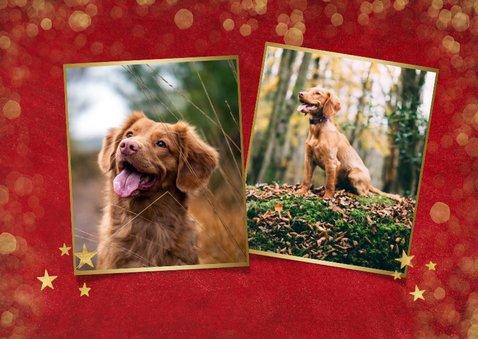 Rode kerstkaart met sterren achtergrond en eigen foto 2