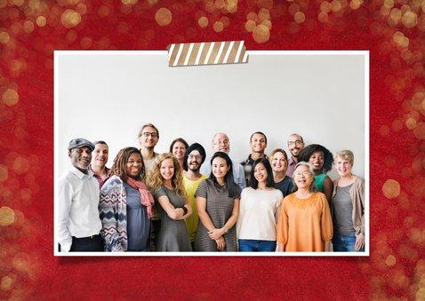 Rode zakelijke kerstkaart met goud en 3 eigen foto's 2