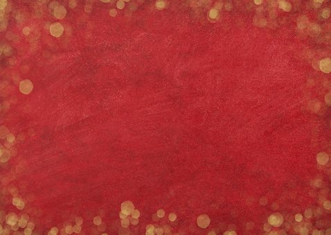 Rode zakelijke kerstkaart met goud en 3 eigen foto's Achterkant