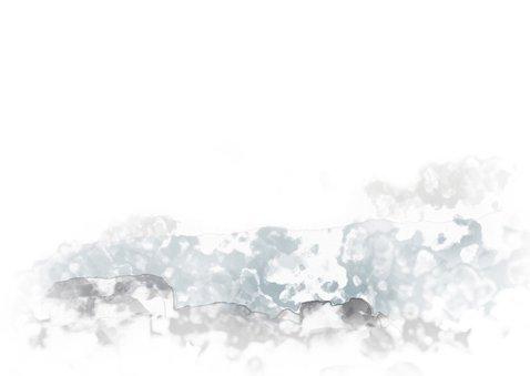 Rouwkaart vogel boven landschap in waterverf Achterkant