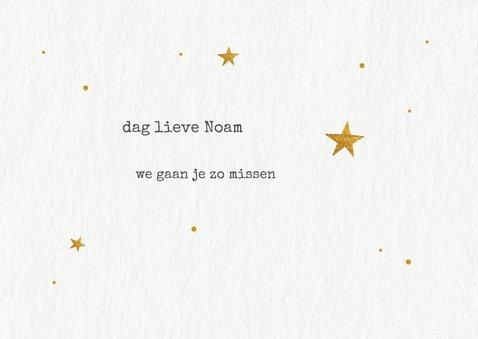 Rouwkaart voor overleden kindje met gouden sterretjes  2