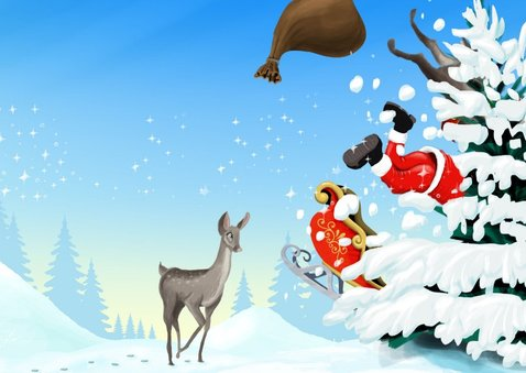 Rudolph en Santa vliegen tegen de boom 3