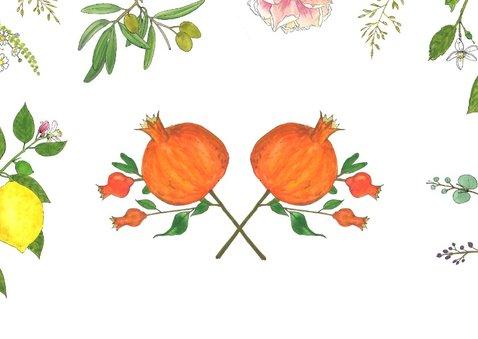 Save the date botanische kristal met bloemen en fruit 2