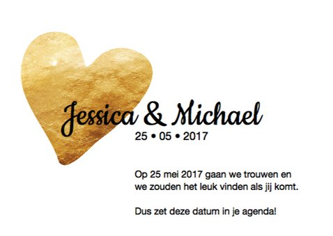 Save the date in gouden letters 3