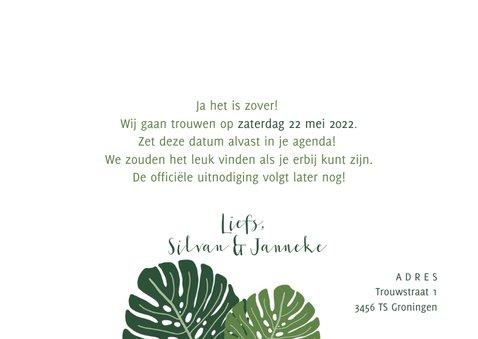 Save the date kaart botanisch met grote bladeren 3