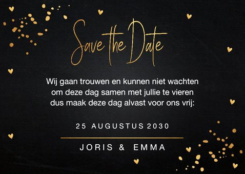 Save the Date kaart gouden confetti 3