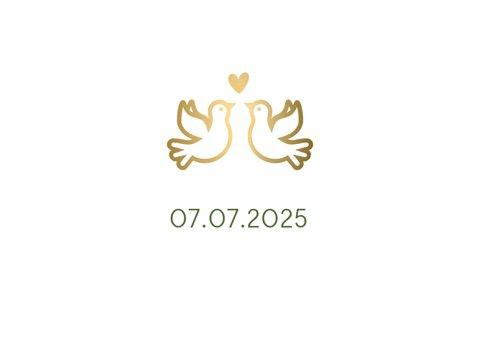Save the Date kaart klassiek wit met gouden duifjes en foto 2