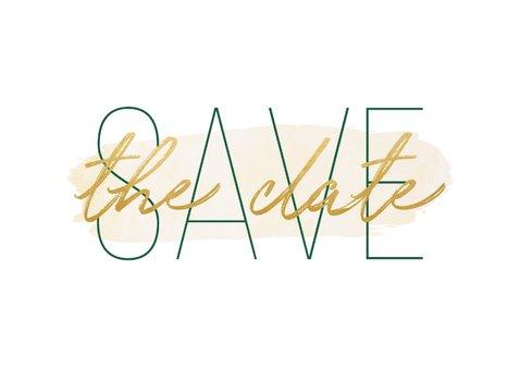 Save the date kaart met goudlook en waterverf 2