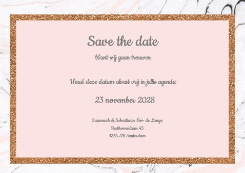 Save the date kaart met marmer 3
