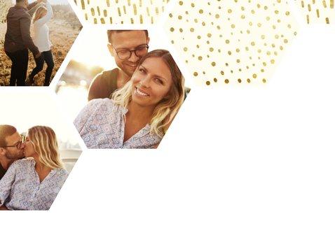 Save the date kaart zeshoek fotocollage met gouden confetti 2