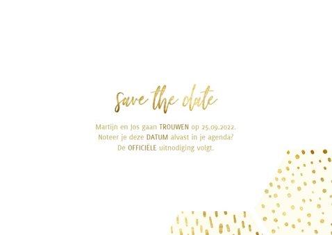 Save the date kaart zeshoek fotocollage met gouden confetti 3