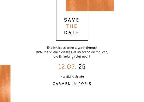 Save-the-Date-Karte Hochzeit Kupfer grafisch Fotocollage 3