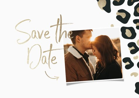 Save-the-Date-Karte Hochzeit Leopardenmuster und Foto 2