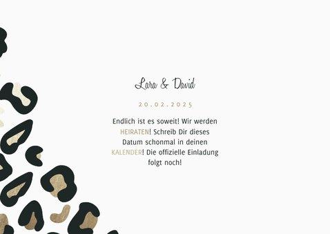 Save-the-Date-Karte Hochzeit Leopardenmuster und Foto 3