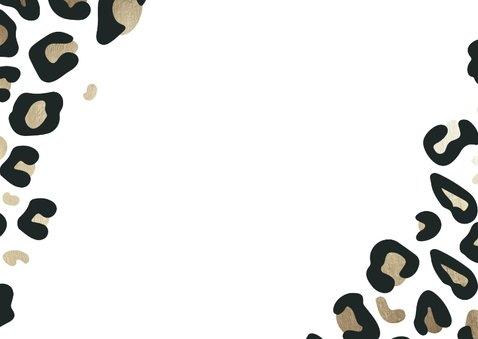 Save-the-Date-Karte Hochzeit Leopardenmuster und Foto Rückseite