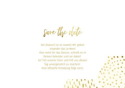 Save-the-Date-Karte Sechseck Fotos Goldlook 3