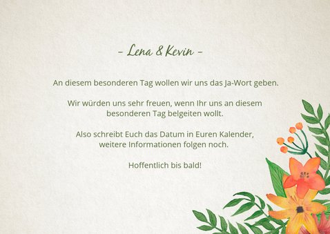Save-the-Date-Karte Vintage Blumen 3