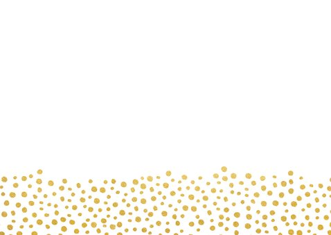 Save-the-Date-Karte zur Hochzeit im Goldlook mit Herzen Rückseite