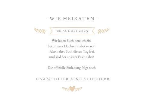 Save-the-Date-Karte zur Hochzeit mit eigenem Foto und Herzen 3