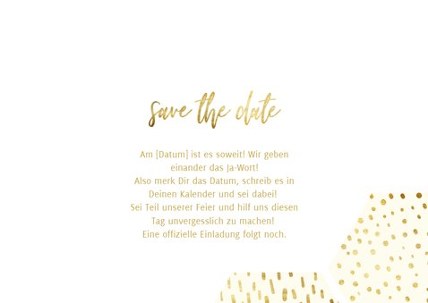 Save-the-Date-Karte zur Hochzeit mit Fotocollage im Goldlook 3