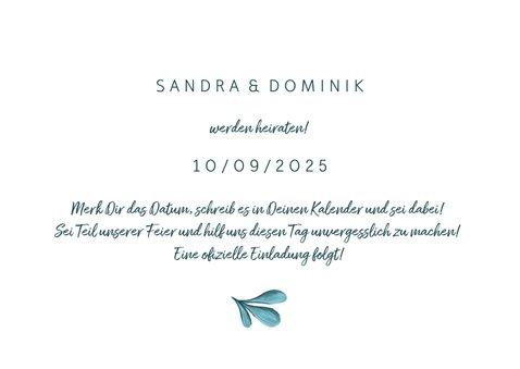 Save-the-Date-Karte zur Hochzeit mit gemalten Zweigen 3