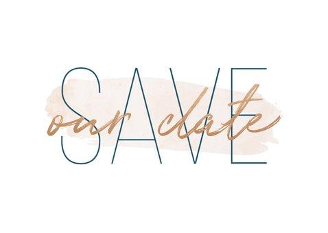 Save-the-Date-Karte zur Hochzeit 'Save our date' im Goldlook 2