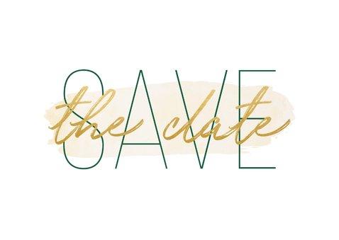 Save-the-Date-Karte zur Hochzeit 'Save the date' im Goldlook 2