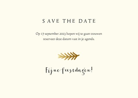 Save the date kerstkaart met foto en gouden takje 3
