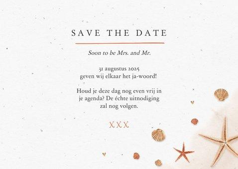 Save the date strand zee schelpen zeesterren bruiloft 3