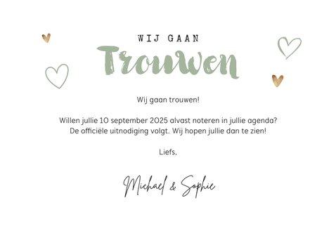 Save the date trouwkaart kalender houtlookwegwijzers 3