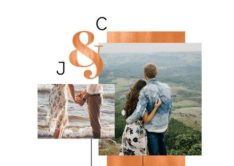 Save the date trouwkaart koper stijlvol modern fotokaart 2