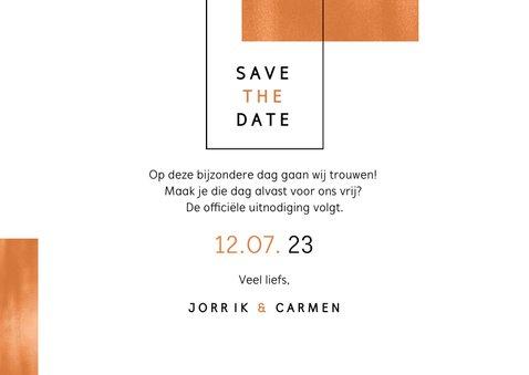 Save the date trouwkaart koper stijlvol modern fotokaart 3