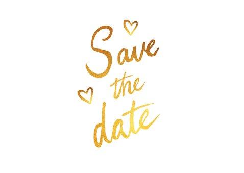Save the date trouwkaart stijlvol goud met eigen foto's 2