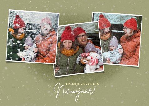 Schattige kerstkaart met hert kerstlampjes en foto's 2