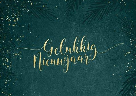 Sierlijke nieuwjaarskaart goudlook kalligrafie 2